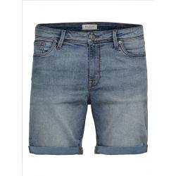 selected halex denim shorts light blue